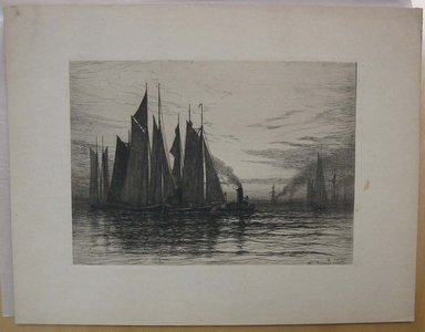Henry Farrer (American, 1843-1903). Untitled (Harbor Scene with Tug Boat), 1886. Etching, Image: 5 7/8 x 8 1/4 in. (14.9 x 21 cm). Brooklyn Museum, Gift of Dr. Clark S. Marlor, 88.6.2