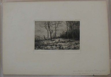 Henry Farrer (American, 1843-1903). Untitled (Landscape with Two Figures). Etching, Image: 3 5/8 x 5 1/8 in. (9.2 x 13 cm). Brooklyn Museum, Gift of Dr. Clark S. Marlor, 88.6.3