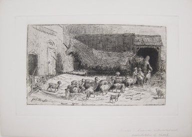 Brooklyn Museum: Untitled (Barnyard Scene with Sheep)