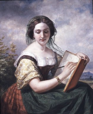 Daniel Huntington (American, 1816-1906). The Sketcher: A Portrait of Mlle Rosina, a Jewess, 1858. Oil on canvas, 39 x 31 3/16 in. (99.1 x 79.2 cm). Brooklyn Museum, Transferred from the Brooklyn Institute of Arts and Sciences to the Brooklyn Museum, 97.33