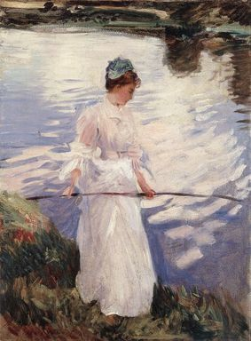 John Singer Sargent (American, 1856-1925). Violet Fishing, 1889. Oil on canvas, 28 1/2 x 21 in. (72.4 x 53.3 cm). Brooklyn Museum, Private Collection, L2012.3