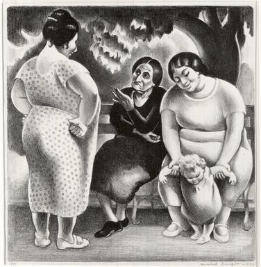 Mabel Dwight (American, 1876-1955). Group in Central Park, 1934. Lithograph on white laid paper, 10 3/16 x 9 3/4 in. (25.9 x 24.8 cm). Brooklyn Museum, Courtesy of the Fine Arts Program, U.S. General Services Administration, L34.111