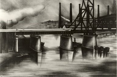 Victoria Ebbels Hudson Huntley (American, 1900-1971). Lack-a-wanna Bridge, 1934. Lithograph on white wove paper, Sheet: 11 1/2 x 16 in. (29.2 x 40.6 cm). Brooklyn Museum, Courtesy of the Fine Arts Program, U.S. General Services Administration, L34.115