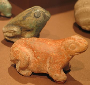 Statuette of Crouching Frog, ca. 3000-2675 B.C.E. Faience, 2 1/16 in. (5.2 cm). Brooklyn Museum, Anonymous loan, L58.2.3. Creative Commons-BY
