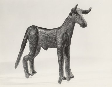 Statuette of Standing Bull, ca. 2000 B.C.E. Copper, 3 15/16 x 1 1/4 x 4 7/16 in. (10 x 3.2 x 11.2 cm). Brooklyn Museum, Lent by Jonathan P. Rosen, L86.1.5. Creative Commons-BY