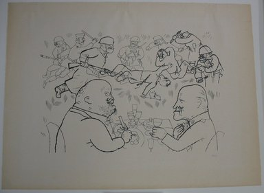 George Grosz (American, born Germany, 1893-1959). The Communists Fall and Foreign Exchange Rises, 1919. Photo-transfer lithograph, Sheet: 18 9/16 x 24 7/8 in. (47.1 x 63.2 cm). Brooklyn Museum, Brooklyn Museum Collection, X1041