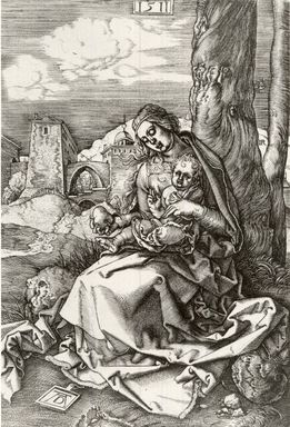 Albrecht Dürer (German, 1471-1528). Madonna with Pear, 1511, printed 1732. Engraving, 6 3/4 x 4 7/8 in. (17.3 x 12.4 cm). Brooklyn Museum, Brooklyn Museum Collection, X1042.10