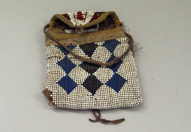 Kiowa (probably) (Native American). Small Bag, 1850-1900. Beadwork, hide, cotton Brooklyn Museum, Brooklyn Museum Collection, X107. Creative Commons-BY