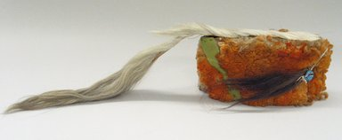 Plains (Native American). Orange Headdress with Horsehair. Sheep wool, horsehair Brooklyn Museum, Brooklyn Museum Collection, X1126.2. Creative Commons-BY