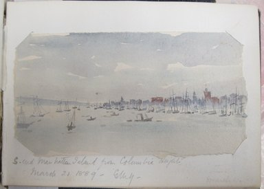 Gertrude M. Young (American, born England, 1862-1930). Sketchbook of New York, Hudson River, and Nebraska Scenery, 1888-1891. Graphite, ink, and watercolor on paper, 5 5/16 x 7 1/8 x 7/16 in. (13.5 x 18.1 x 1.1 cm). Brooklyn Museum, Brooklyn Museum Collection, X1192.4