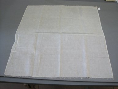 Table Cloth with Fringed Edge, 19th century. Woven linen, 41 1/2 x 39 in. (105.4 x 99.1 cm). Brooklyn Museum, X2003.2155. Creative Commons-BY