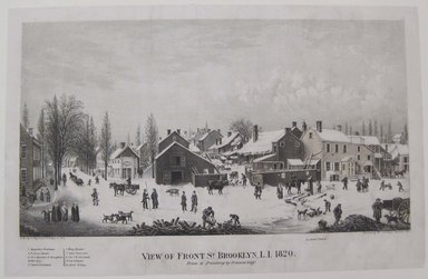 George Hayward (American, active 1834-1872). View of Front Street, Brooklyn, Long Island, 1865. Lithograph, Sheet: 8 3/4 x 13 1/2 in. (22.2 x 34.3 cm). Brooklyn Museum, Brooklyn Museum Collection, X368