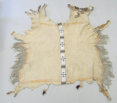 Ute (Native American). Beaded Hide, 1801-1900. Deerskin, beads, 53 9/16 x 59 13/16 in.  (136 x 152 cm). Brooklyn Museum, Brooklyn Museum Collection, X568. Creative Commons-BY