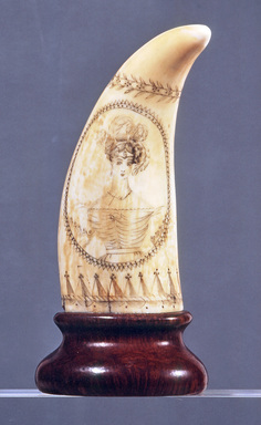 Scrimshaw, Whale's Tooth, ca. 1825-1835. Whale's tooth, 5 1/8 x 2 1/8 in. (13 x 5.4 cm). Brooklyn Museum, Brooklyn Museum Collection, X613.1. Creative Commons-BY