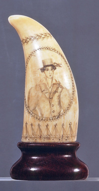 Unknown. Scrimshaw, Whale's Tooth, ca. 1825-1835. Whale's tooth, 5 1/8 x 2 1/8 in. (13 x 5.4 cm). Brooklyn Museum, Brooklyn Museum Collection, X613.1. Creative Commons-BY