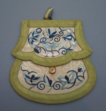 Envelope Shaped Purse, 19th century. Satin embroidery on brocade, 5 3/4 x 5 3/4 in.  (14.6 x 14.6 cm). Brooklyn Museum, Brooklyn Museum Collection, X640.22. Creative Commons-BY