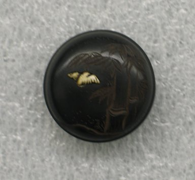 Inro with Ojime and Netsuke, late 18th-early 19th century. Wood with lacquer, a) 3 x 2 15/16 in. (7.6 x 7.5 cm). Brooklyn Museum, Brooklyn Museum Collection, X696.4a-c. Creative Commons-BY