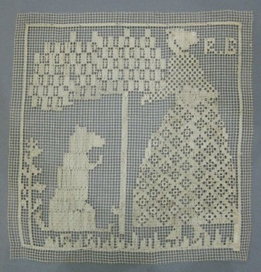 Cushion Top with Woman, Tree and Dog, 19th century. Linen, 9 x 9 1/4 in. (22.9 x 23.5 cm). Brooklyn Museum, Brooklyn Museum Collection, X70. Creative Commons-BY