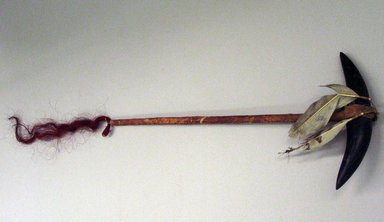 Plains (Native American). Staff or War Club, 1875-1900. Stone, hide, bison horns, owl feathers, horsehair, ochre, 21 7/8 in.  (55.5 cm). Brooklyn Museum, Brooklyn Museum Collection, X730. Creative Commons-BY