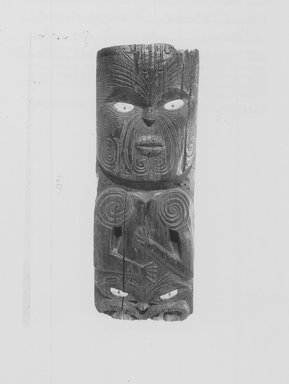 Maori. Panel  (Poupou). Wood, paua shell, 34 1/2 x 12 3/4 x 2 3/8 in.  (87.6 x 32.4 x 6.0 cm). Brooklyn Museum, Brooklyn Museum Collection, X839.5. Creative Commons-BY