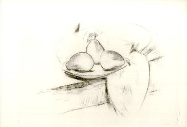 Marsden Hartley (American, 1877-1943). Untitled (Fruit on Plate), n.d. Charcoal on paper, Sheet (sight): 16 3/4 x 22 1/2 in. (42.5 x 57.2 cm). Brooklyn Museum, Brooklyn Museum Collection, X889.3. © Estate of Marsden Hartley, Yale University Committee on Intellectual Property