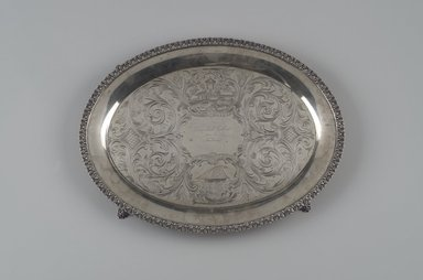 William Tenney. Footed Tray, ca. 1840. Silver, 1 1/8 x 16 x 12 5/8 in.  (2.9 x 40.6 x 32.1 cm). Brooklyn Museum, Lent by Wunsch Americana Foundation, Inc., L1999.3. Creative Commons-BY