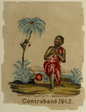 """Unknown. Embroidery """"Contraband 1862,"""" 1862. Paper, wool, 9 1/2 x 7 3/8 in. (24.1 x 18.7 cm). Brooklyn Museum, Lent anonymously in loving memory of Florence and Bernard Lewis, L2006.5. Creative Commons-BY"""