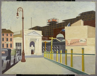 Francis Criss (American, born England, 1901-1973). City Landscape, 1934. Oil on canvas, 28 7/8 x 36 7/8 in. (73.3 x 93.7 cm). Brooklyn Museum, Courtesy of the Fine Arts Program, U.S. General Services Administration, L34.118