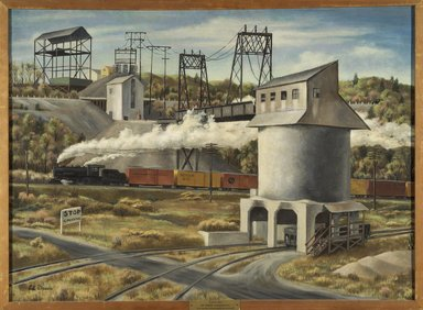 Edward Dreis (American, 1909-1975). Gravel-Silo, ca. 1930s. Oil on canvas, 27 1/4 x 37 1/4 in. (69.2 x 94.6 cm). Brooklyn Museum, Courtesy of the Fine Arts Program, U.S. General Services Administration, L34.127