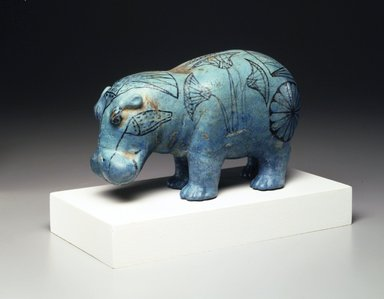 Standing Hippopotamus, ca. 1938-1539 B.C.E. Faience, painted, 4 1/4 x 6 9/16 in. (10.8 x 16.7 cm). Brooklyn Museum, Private Collection, L48.7.19. Creative Commons-BY