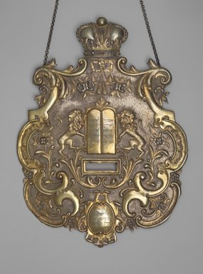 Jewish. Torah Shield, 1898. Silver-plated brass, 15 5/8 x 11 5/8 x 1/4 in. (39.7 x 29.5 x 0.6cm). Brooklyn Museum, Loaned by Jewish Cultural Reconstruction, Inc., L50.26.1. Creative Commons-BY
