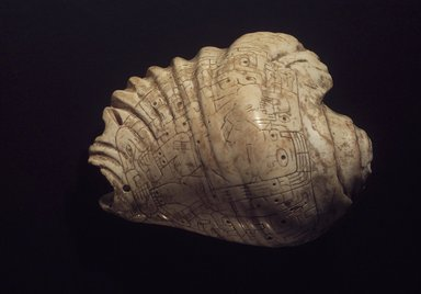 Chavin. Incised Strombus-Shell Trumpet, 400-200 B.C.E. Strombus shell, 11 1/4 x 7 1/8 x 11 1/4 in.  (28.6 x 18.1 x 28.6 cm). Brooklyn Museum, Anonymous Loan, L52.1. Creative Commons-BY