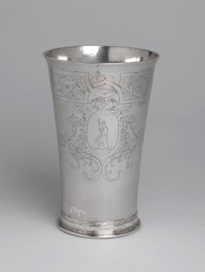 Gerrit Onckelbag (American, 1670-1732). Beaker, One of a Pair, ca. 1700. Silver, 6 7/8 x 3 3/8 x 3 3/8 in. (17.5 x 8.6 x 8.6 cm). Brooklyn Museum, Lent by Reformed Dutch Protestant Church, L54.1b. Creative Commons-BY