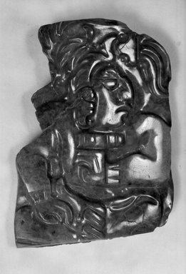 Maya. Plaque, 600-900 C.E. Jadeite, 1 1/2 x 2 3/16 in. (3.8 x 5.6 cm). Brooklyn Museum, Lent by The Guennol Collection, L56.10.2. Creative Commons-BY