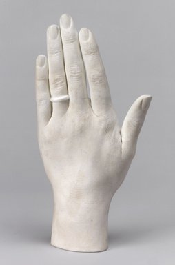 Charles Cartlidge & Co. (1848-1856). Cast of the Left Hand of Ann Cartlidge Tyndale, ca. 1850. Unglazed porcelain, 1 7/8 x 3 5/8 x 7 1/4 in. (4.8 x 9.2 x 18.4 cm). Brooklyn Museum, Lent by Mrs. Henry W. Patten, L65.14. Creative Commons-BY
