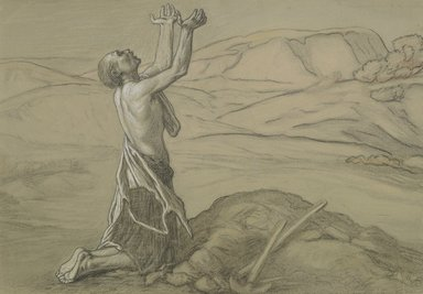 Elihu Vedder (American, 1836-1923). Study for Prayer for Death in the Desert, ca. 1867. Charcoal, white chalk, pastel, and black crayon on gray-green, moderately thick, slightly textured wove paper., 12 5/16 x 17 7/16 in. (31.3 x 44.3 cm). Brooklyn Museum, Lent by Mr. and Mrs. Wilbur L. Ross, Jr., L81.62