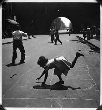 Walter Rosenblum (American, 1919-2006). Children Playing - 105th Street, 1948. Gelatin silver photograph, 7 15/16 x 7 1/4 in.  (20.2 x 18.4 cm). Brooklyn Museum, Brooklyn Museum Collection, X1008.7. © Rosenblum Archive