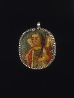Painted Medallion in Locket Frame, Recto: Angel, Verso: Saint Barbara with Attributes of a Castle Toiwer and Martyr's Palm Frond, 18th-19th century. Oil on metal in silver frame, 2 1/8 x 1 5/8 x 1/4in. (5.4 x 4.1 x 0.6cm). Brooklyn Museum, Brooklyn Museum Collection, X1022a-b. Creative Commons-BY