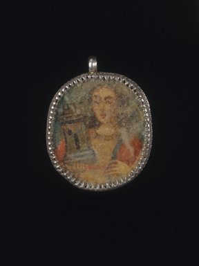 Unknown. Painted Medallion in Locket Frame, Recto: Angel, Verso: Saint Barbara with Attributes of a Castle Toiwer and Martyr's Palm Frond, 18th-19th century. Oil on metal in silver frame, 2 1/8 x 1 5/8 x 1/4in. (5.4 x 4.1 x 0.6cm). Brooklyn Museum, Brooklyn Museum Collection, X1022a-b. Creative Commons-BY