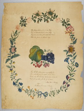 Catharine Emma Manley. [Untitled] (Poem and Decorative Wreath), n.d. Watercolor over graphite with text in ink on paper, Sheet: 21 5/16 x 16 1/4 in. (54.1 x 41.3 cm). Brooklyn Museum, Brooklyn Museum Collection, X1042.133