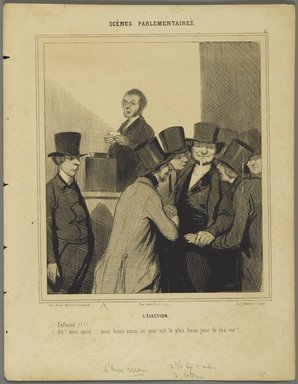 Honoré Daumier (French, 1808-1879). The Election (L'Élection), 1843. Lithograph on wove paper, Image: 8 15/16 x 7 3/4 in. (22.7 x 19.7 cm). Brooklyn Museum, Brooklyn Museum Collection, X1042.52