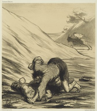 Honoré Daumier (French, 1808-1879). The Ass and the Two Thieves (L'Ane et les deux voleurs), 1862. Lithograph on wove China paper, Image: 9 x 7 7/8 in. (22.8 x 20.0 cm). Brooklyn Museum, Brooklyn Museum Collection, X1042.53