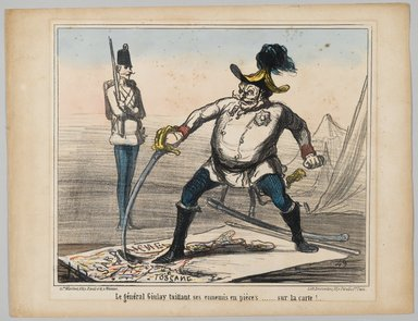 Honoré Daumier (French, 1808-1879). General Giulay Tears His Enemies in Pieces... at Least on the Map (Le général Giulay taillant ses ennemis en pièces.... sur la carte!..), 1859. Lithograph with hand coloring on wove paper, Sheet: 10 7/8 x 14 1/8 in. (27.6 x 35.8 cm). Brooklyn Museum, Brooklyn Museum Collection, X1042.79