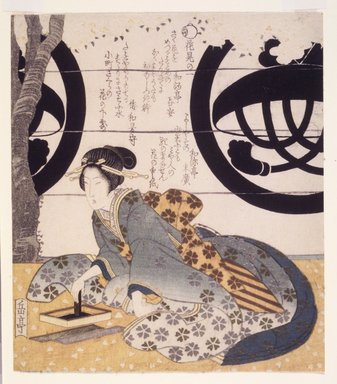 Gakutei Harunobu (Japanese, died 1869). Beauty Viewing Flowers (Hanami Bijin). Woodblock print, 8 1/8 x 7 3/16 in.  (20.6 x 18.3 cm). Brooklyn Museum, Brooklyn Museum Collection, X1051.1