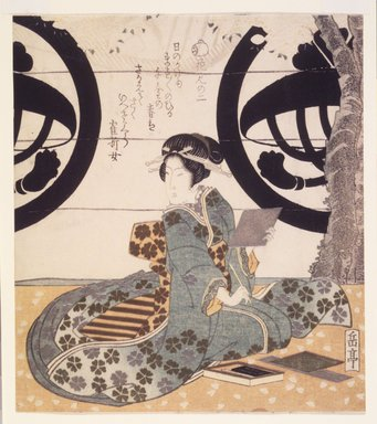 Gakutei Harunobu (Japanese, died 1869). Beauty Viewing Flowers (Hanami Bijin). Woodblock print, 8 1/8 x 7 3/16 in.  (20.6 x 18.3 cm). Brooklyn Museum, Brooklyn Museum Collection, X1051.2