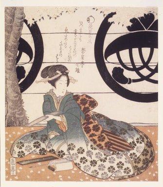 Gakutei Harunobu (Japanese, died 1869). Beauty Viewing Flowers (Hanami Bijin). Woodblock print, 8 1/8 x 7 3/16 in.  (20.6 x 18.3 cm). Brooklyn Museum, Brooklyn Museum Collection, X1051.3