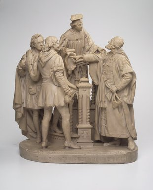 John Rogers (American, 1829-1904). Is It So Nominated in the Bond?, 1880. Painted plaster, 23 x 21 x 11 in. (58.4 x 53.3 x 27.9 cm). Brooklyn Museum, Brooklyn Museum Collection, X1058