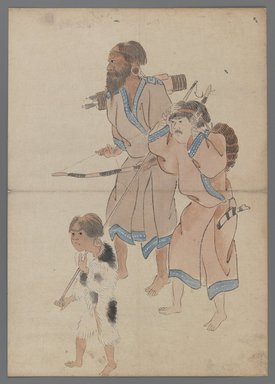 Ainu Hunters, 19th century. Ink and color on paper, 15 x 10 5/8 in. (38.1 x 27 cm). Brooklyn Museum, Brooklyn Museum Collection, X1085