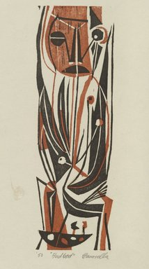 Edmond Casarella (American, 1920-1996). Bird God, 1950. Woodcut in color, 8 1/4 x 2 5/8 in. (21 x 6.7 cm). Brooklyn Museum, Brooklyn Museum Collection, X1089. © Estate of Edmond Casarella