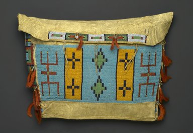 Sioux (Native American). Tipi Bag or Possible Bag, ca. 1860-1900. Hide, beads, tin cones, horse hair, 15 1/2 x 20 1/2 in. (39.4 x 52.1 cm). Brooklyn Museum, Brooklyn Museum Collection, X1111.1. Creative Commons-BY